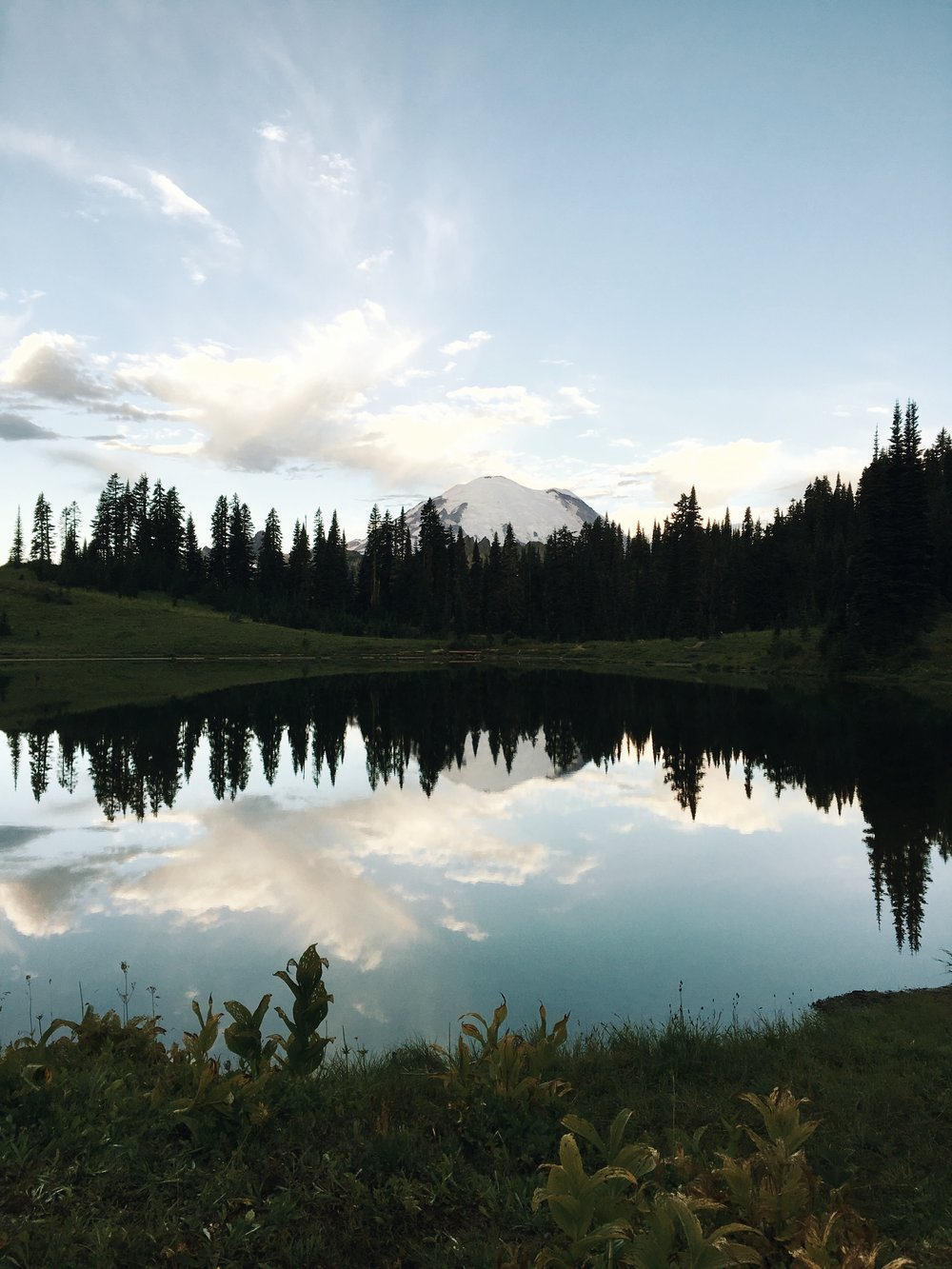 Mount Rainier just after sunrise over Tipsoo Lake, Chinook Pass.